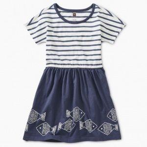 New Tea Collection Geo Fish Twirl Dress Crown Blue